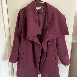Long maroon coat-button down